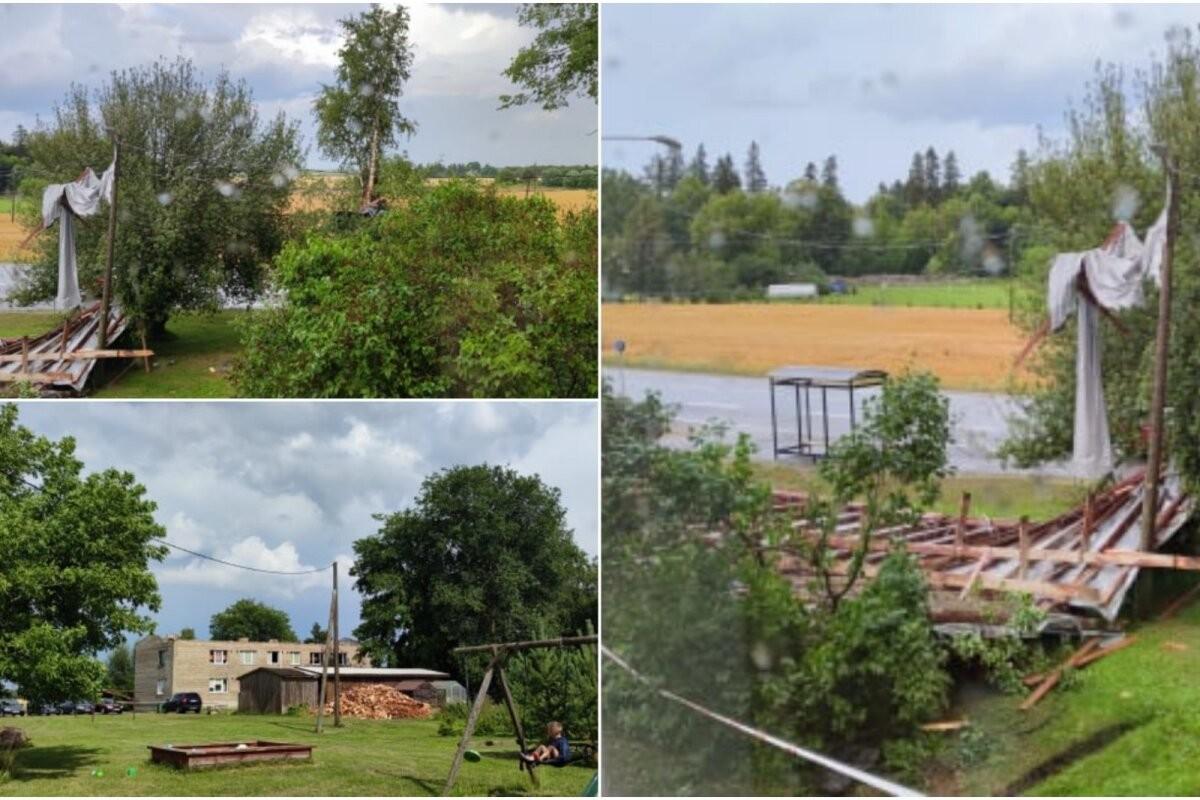 ФОТО   В Эстонии свирепствует шторм: ветер сорвал крышу с многоквартирного дома