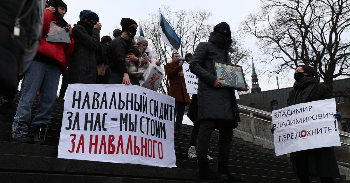 """В Таллинне проходит акция в поддержку Навального, народ скандирует: """"Путин - вор!"""""""