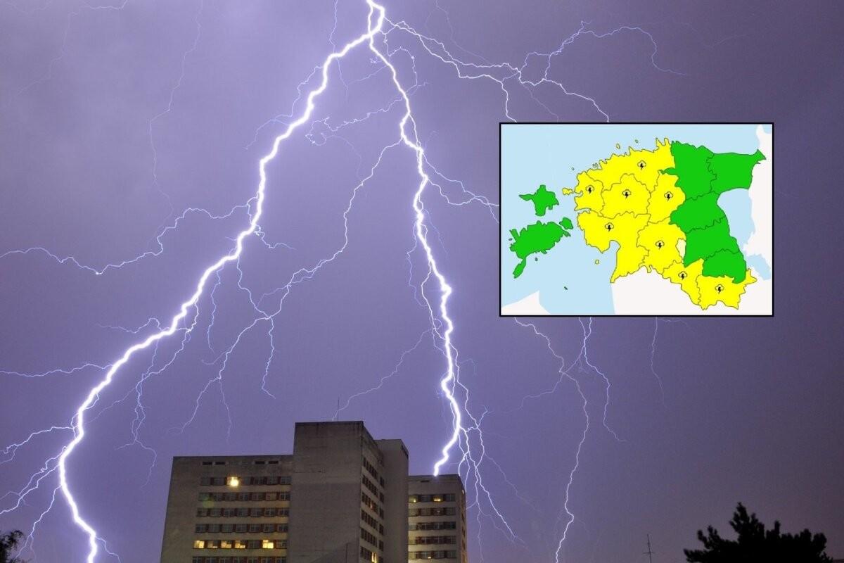 КАРТА В РЕАЛЬНОМ ВРЕМЕНИ   В восьми уездах объявлено грозовое предупреждение. Смотрите, где прямо сейчас сверкают молнии