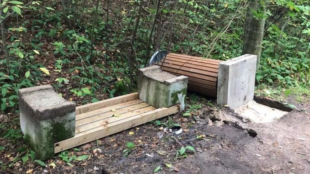 В Мустамяэ вандалы сломали скамейки и инвентарь в парке Сютисте