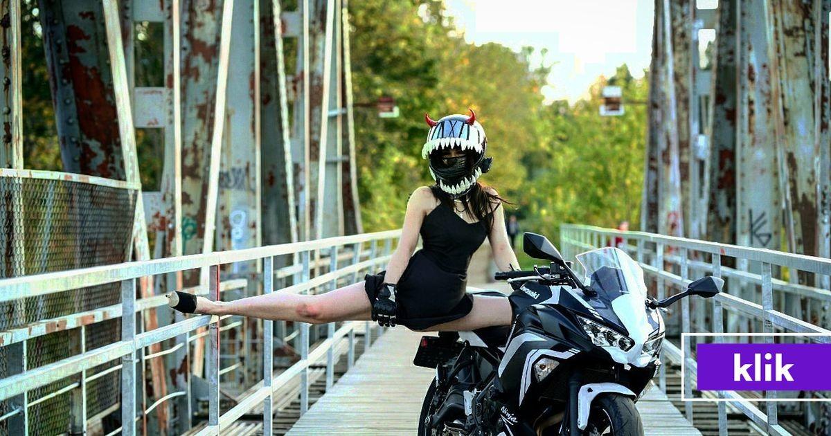 «Мотоцикл я себе купила сама»: Влада Кукеле - отчаянная байкерша с рожками, скрывающая свое лицо